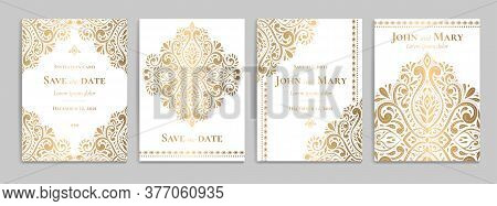 Wedding Invitation Card With Luxury Gold Pattern Design On A White Background. Vintage Ornament Temp