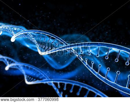 3D render of a medical background with DNA strand on abstract design