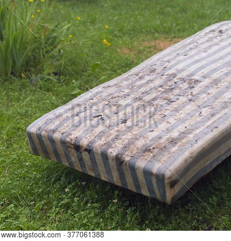 Discarded Old Part Of Bed With Dirty Mattress, Outdoor Image