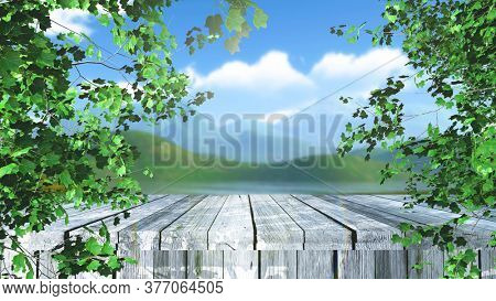 3D render of a wooden table in trees against a defocussed landscape background