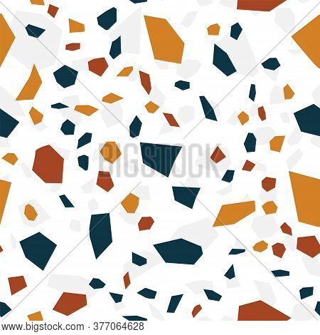 And Red Terrazzo Wall Vector Seamless Pattern. Geometric Terrazzo Tile Background. Blue And White Gr