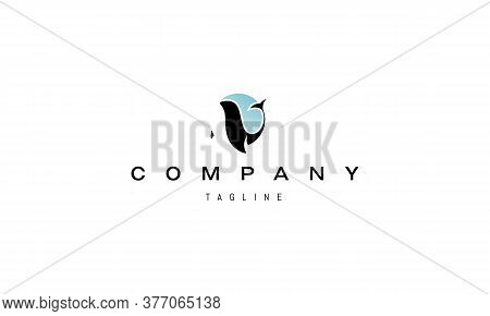 Vector Logo On Which An Abstract Image Of A Killer Whale On A Background Of Blue Sky In The Form Of