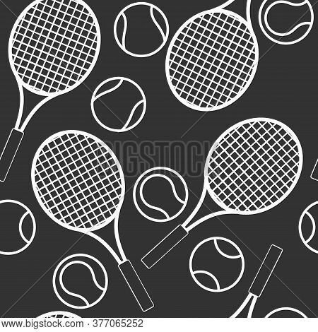 Seamless Tennis Pattern With Racquets And Balls, Ornament For Wallpaper And Fabric, Wrapping Paper