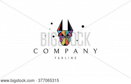 Vector Color Logo On Which An Abstract Image Of A Doberman Dog In A Linear Style.