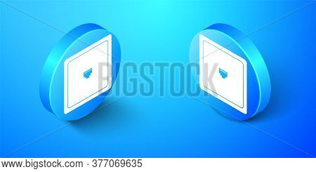 Isometric Ethernet Socket Sign. Network Port - Cable Socket Icon Isolated On Blue Background. Lan Po