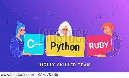 Highly Skilled Team Of Young Programmers. Flat Vector Illustration Of Three Guy Holding Cards As Pyt