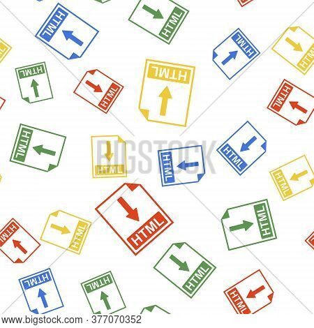 Color Html File Document Icon. Download Html Button Icon Isolated Seamless Pattern On White Backgrou