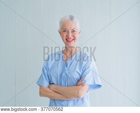 Portrait Of Happy Smiling Western Sick Old Female Senior Elderly Patient, Woman Person In Hospital I