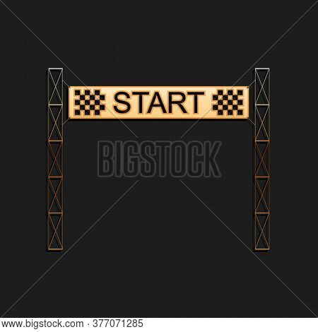 Gold Starting Line Icon Isolated On Black Background. Start Symbol. Long Shadow Style. Vector
