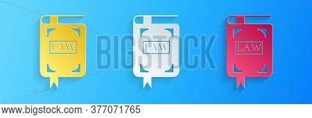 Paper Cut Law Book Icon Isolated On Blue Background. Legal Judge Book. Judgment Concept. Paper Art S