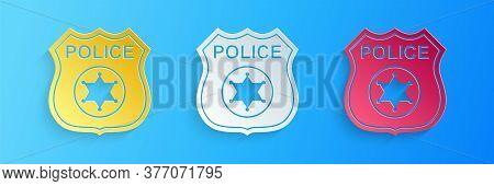 Paper Cut Police Badge Icon Isolated On Blue Background. Sheriff Badge Sign. Paper Art Style. Vector