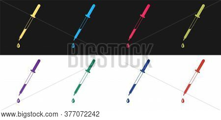 Set Pipette Icon Isolated On Black And White Background. Element Of Medical, Chemistry Lab Equipment