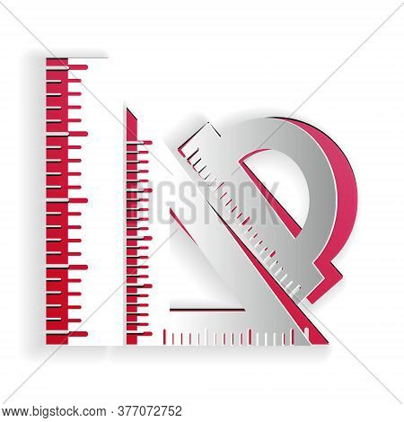 Paper Cut Set Ruler, Triangular Ruler And Protractor Icon Isolated On White Background. Straightedge