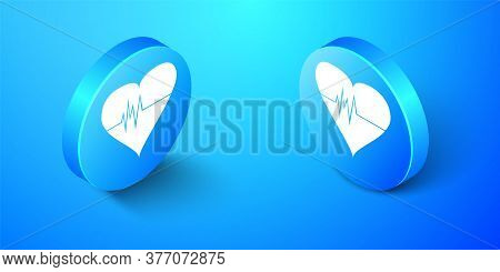 Isometric Heart Rate Icon Isolated On Blue Background. Heartbeat Sign. Heart Pulse Icon. Cardiogram