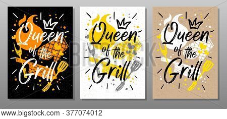 Queen Grill, Quote Food Poster. Cooking, Culinary, Kitchen, Bbq, Barbecue, Axe, Fork, Knife, Master