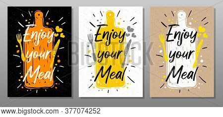Enjoy Your Meal, Quote Phrase Food Poster. Cooking, Culinary, Kitchen, Print, Utensils, Cutting Boar