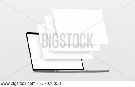 Laptop Computer Mockup With Blank Wireframing Pages. Concept For Showcasing Web-design Projects. Vec