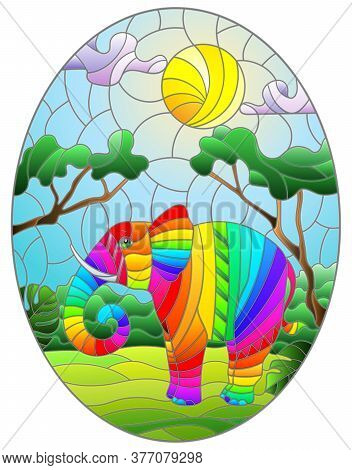 Illustration In Stained Glass Style With Cute Rainbow Elephant On The Background Of Green Trees Of C