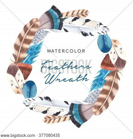 Hand Drawn Watercolor Vibrant Feathers Wreath. Boho Style Feathers Frame On White Background. Feathe