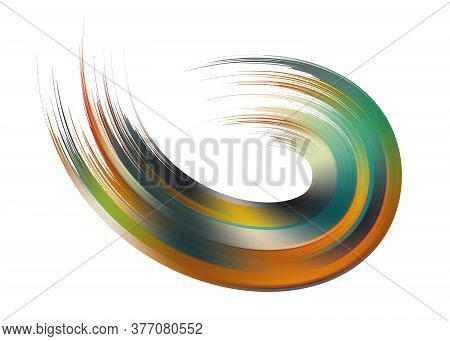 Ribbon Flow Color Swirl. Wires As Hair Beam Sheaf. Liquid Paint Ink Shape Isolated On White Backgrou
