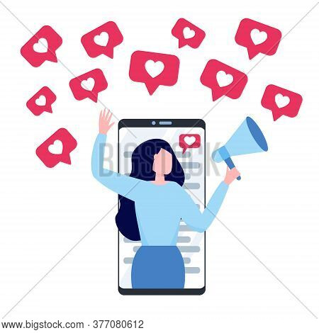 Woman With Megaphone On A Screen Of Smartphone. Blogger Surrounded With Social Media Likes Icons. Co