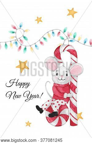 Christmas Illustration With Mouse On A Candy Cane With Christmas Lights And Stars. Hand-drawn Waterc