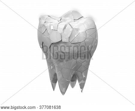 Broken Glossy Molars Tooth Isolated On White Background. 3d Illustration