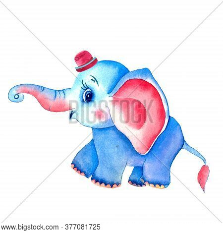 Watercolor Elephant With Balloons. Romantic Deep Elephant With Pink Ears.