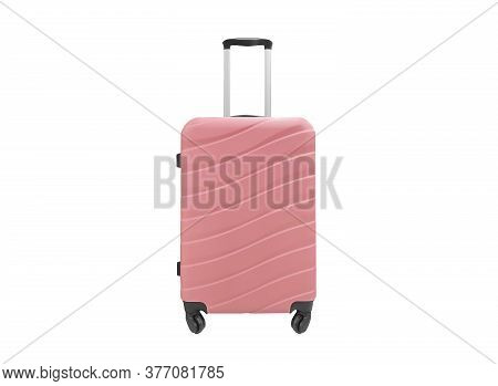 Modern Pink Suitcase With Wheels Isolated On A White Background