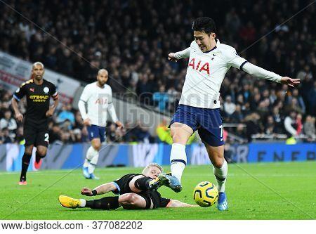 London, England - February 2, 2020: Oleksandr Zinchenko Of City And Heung-min Son Of Tottenham Pictu