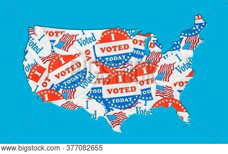 Many Voting Stickers Given To Us Voters In Presidential Election Formed In The Shape Of The Usa To I