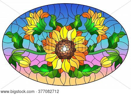Illustration In Stained Glass Style With A Bouquet Of Sunflowers, Flowers,buds And Leaves Of The Flo