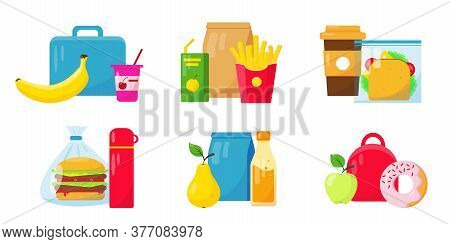 School Lunch Food Collection On White Background. Lunch Boxes Set Vector Icons Illustration.