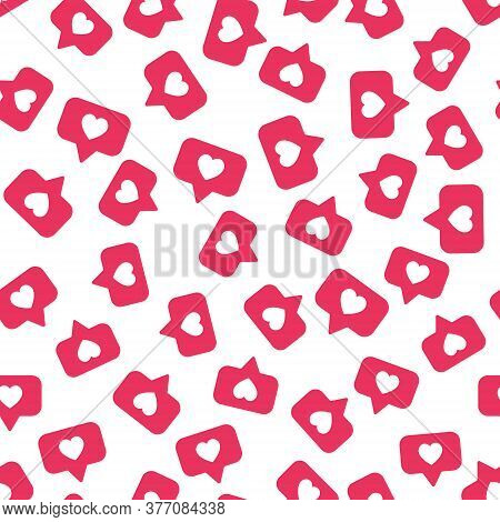 Vector Seamless Pattern With Bright Red Social Media Like Sign. Social Network Appreciate Likes Symb