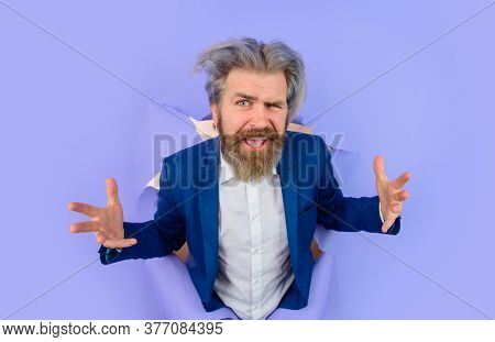 Breakthrough Paper Hole With Businessman. Business Growth. Businessman Breaks Through Paper. Busines