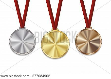 Gold Bronze And Silver Medals. Medallions Vector Without Number. Champions Empty Reward.