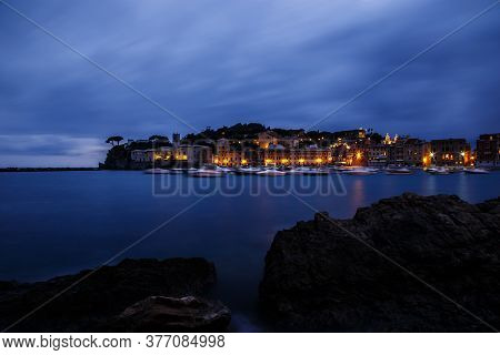 Sestri Levante Resort By Night, Liguria, Italy