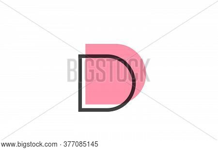 Geometric D Pink Black Line Alphabet Letter Logo Icon For Company. Simple Line Design For Business A