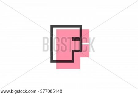 Geometric F Pink Black Line Alphabet Letter Logo Icon For Company. Simple Line Design For Business A