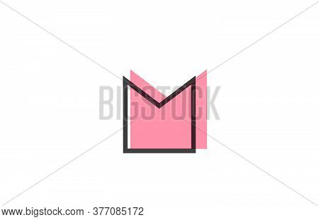 Geometric M Pink Black Line Alphabet Letter Logo Icon For Company. Simple Line Design For Business A
