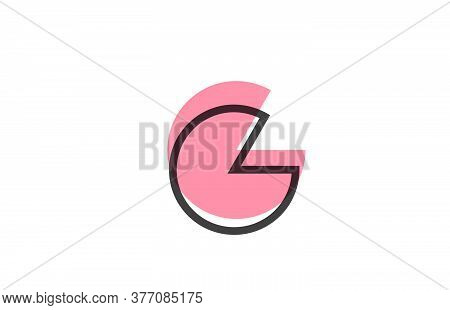 Geometric G Pink Black Line Alphabet Letter Logo Icon For Company. Simple Line Design For Business A