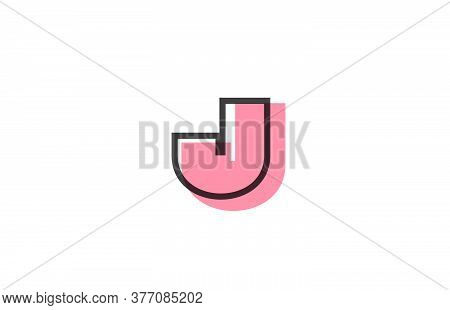 Geometric J Pink Black Line Alphabet Letter Logo Icon For Company. Simple Line Design For Business A