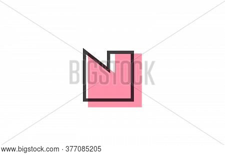 Geometric N Pink Black Line Alphabet Letter Logo Icon For Company. Simple Line Design For Business A