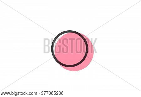 Geometric O Pink Black Line Alphabet Letter Logo Icon For Company. Simple Line Design For Business A