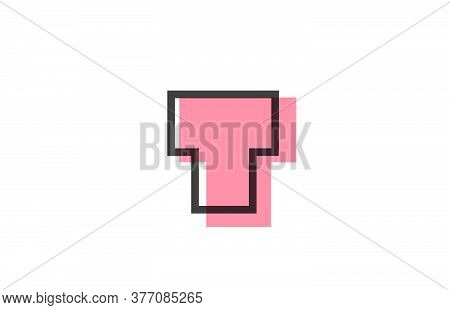 Geometric T Pink Black Line Alphabet Letter Logo Icon For Company. Simple Line Design For Business A