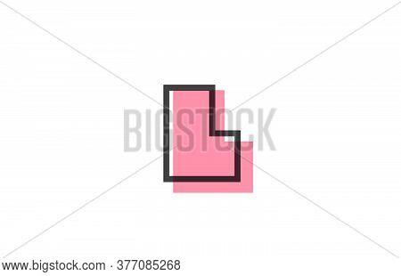 Geometric L Pink Black Line Alphabet Letter Logo Icon For Company. Simple Line Design For Business A