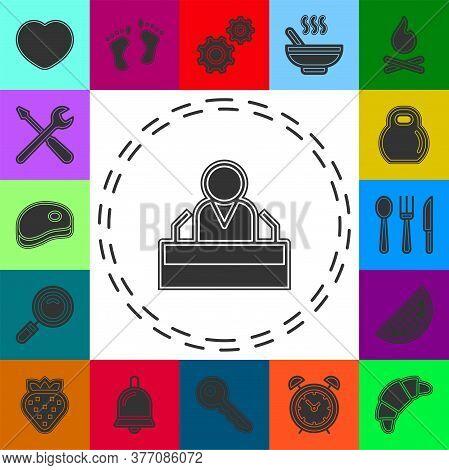 President Speech Flat Icon - Public Speaker Character Vector Illustration. Ceo Speaker. Flat Pictogr