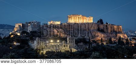 Acropolis Hill With Famous Parthenon At Night, Athens, Greece. Old Acropolis Is Top Landmark Of Athe