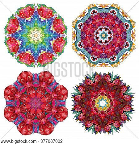 Hand Drawn Zentangle Set Of 4 Color Mandalas For Decoration