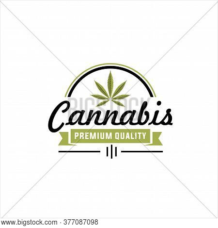 Cannabis Logo Template, Abstract Cannabis Vector Illustration, Vintage Marijuana Label Design, Canna